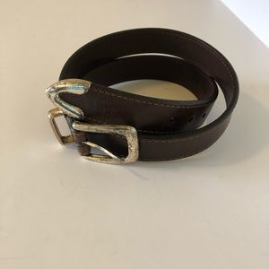 Façonnable Womens Leather Belt Size Small Brown.